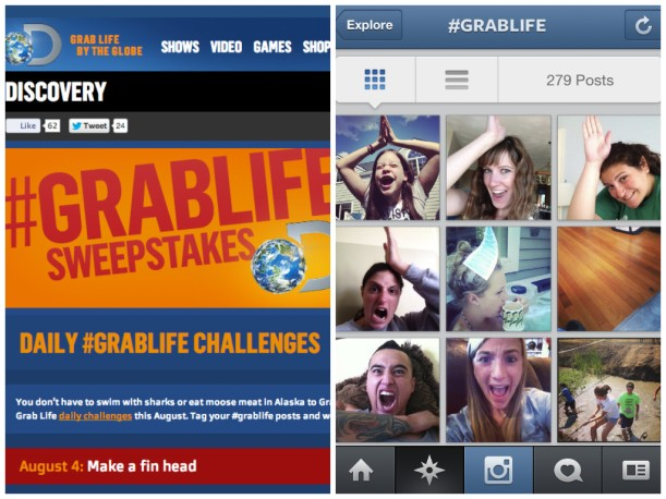 This screenshot displays Discovery's Instagram and Twitter sweepstakes.  Consumers were asked to make a shark fin on their head on day 1 of Shark Week.