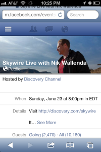 A Screenshot of Discovery Channel's Facebook invitation to its viewing event, Skywire Live.